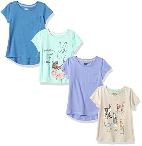 (Spotted Zebra Little Girls' 4-Pack Short-Sleeve T-Shirts, Llama Drama, Small)