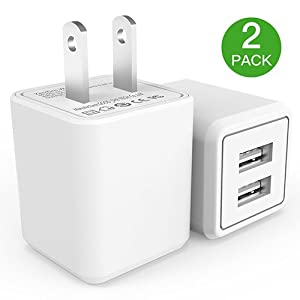 Wall Charger, 2.4A 12W Dual Port Portable Universal USB Wall Charger for Apple iPhone,iPad, Samsung Galaxy, HTC Nexus Moto Blackberry, Bluetooth Speaker Headset & Power Bank, White (2-PACK)