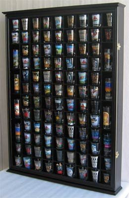 100 Shot Glass Display Case Holder Shadow Box Wall Cabinet, With Acrylic  Door (Black
