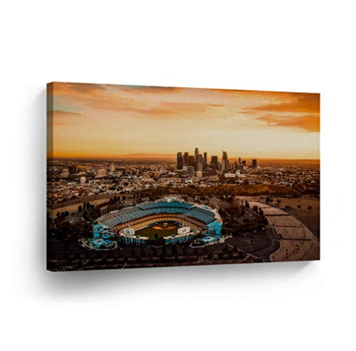 Los Angeles Wall Art Aerial View of the Dodgers Stadium with the LA View Canvas Print California Home Decor Artwork Gallery Wrapped Wood Stretched and Ready to Hang - %100 Handmade in the USA - 8x12 ()