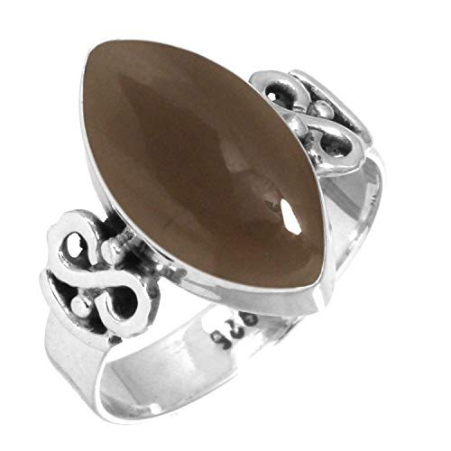 925 Sterling Silver Women Jewelry Natural Smoky Topaz Ring Size 12