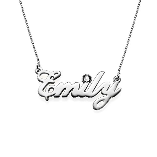 Sterling Silver Personalized Name Necklace with Swarovski Birthstone Pendant - Custom Made Jewelry ()