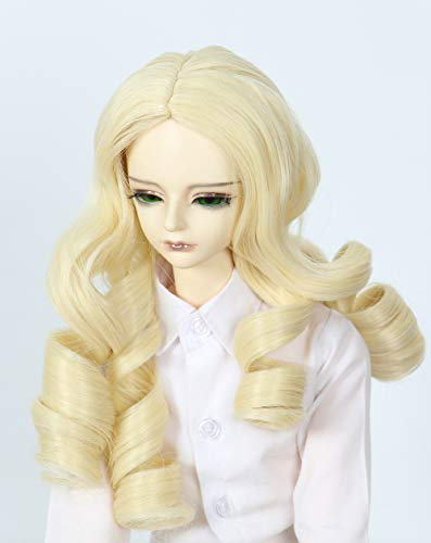 Linfairy Wigs Only 8-9 inch 1/3 BJD Wig Pullip SD Doll Dollfie Wig Short Hair Half Curly Wig (Blonde)