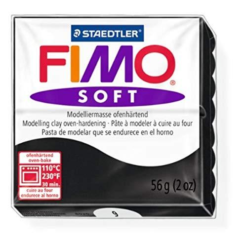 Black Fimo - Staedtler Fimo Soft Black (9) Oven Bake Modelling Clay Moulding Polymer Block Colour 56g (1 Pack)