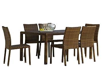 Panama Jack - Juego de 7 sillas de Comedor rectangulares para Exteriores, Incluye 6 sillas Laterales y Mesa Rectangular Tejida de 91, 4 x 152, ...