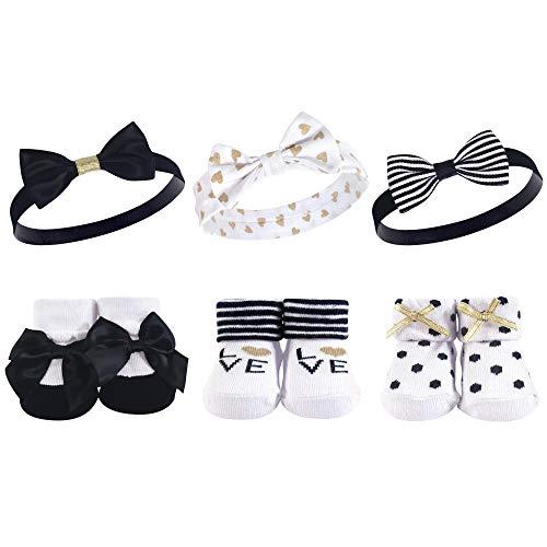 - Hudson Baby Baby Girls' Headband and Socks Set, 6 Piece, Black/Gold, 0-9 Months