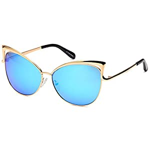 CATWALK Womens Oversized Cat Eye Metal Fashion Frame Sunglasses with Mirror Flash Lens Option - Choose Your Color