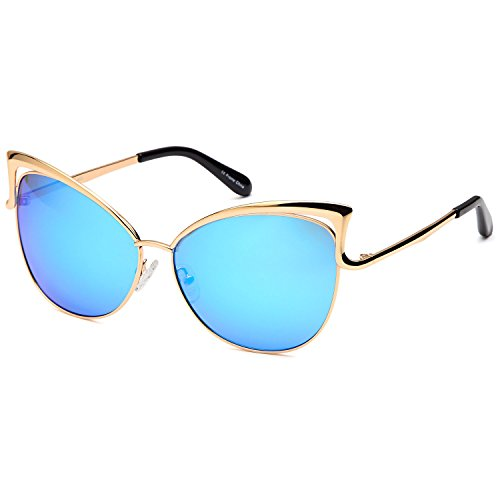 CATWALK Womens Oversized Cat Eye Metal Fashion Frame Sunglasses with Mirror Flash Lens Option - Choose Your - Eye Shaped Cat Frames