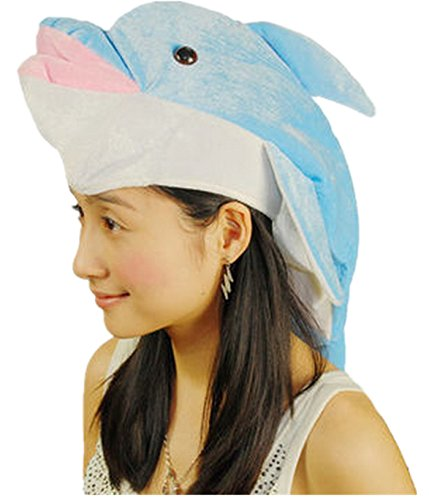Funny Multicolor Halloween Festival Party Creative Stereoscopic Marine life Mardi Gras Party Costume Hat (Blue Dolphin)