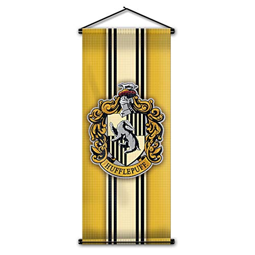 Harry Potter Style Striped Banner - Hufflepuff Flag 43in x 16in - High Quality Wall Scroll - Ready to Hang - Perfect Barware Man Cave Gift - Unique HP Collectible Accessories ()