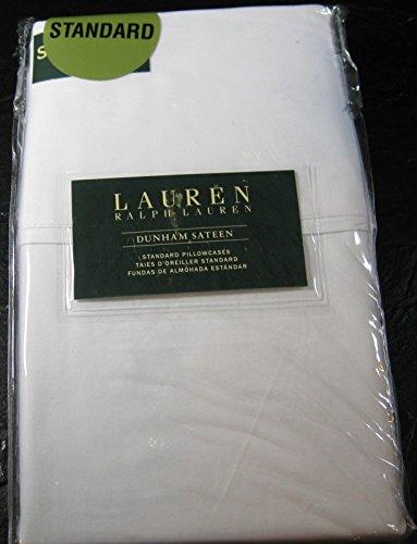 Set of 2 Ralph Lauren Dunham Sateen Standard Pillowcases- White -300 Thread Count 100% Cotton-