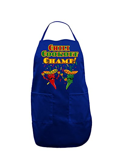 Champ Uniform (TooLoud Chili Cookoff Champ! Chile Peppers Dark Adult Apron - Royal Blue - One-Size)