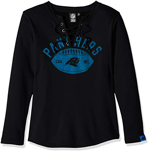 Icer Brands NFL Carolina Panthers Women's Fleece Sweatshirt Lace Long Sleeve Shirt, Black, ()