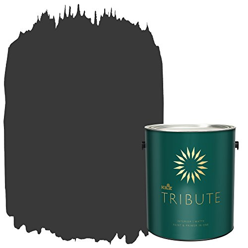 KILZ TRIBUTE Interior Matte Paint and Primer in One, 1 Gallon, Mystic Black ()