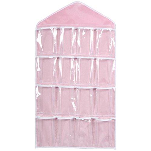 Price comparison product image Hot Sale !  Ninasill  Storage Closet 16 Pockets Clear Hanging Bag Socks Bra Underwear Rack Hanger Storage Organizer (Pink)