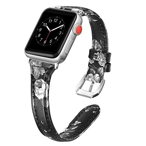 Secbolt Leather Bands Compatible Apple Watch Band 42mm 44mm Stainless Steel Buckle Replacement Slim Wristband Sport Strap Iwatch Nike+, Series 4/3/ 2/1, Edition, Black/Gray Floral