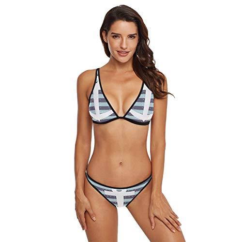 (Loveful Personalized White Rope Womens Low Rise Bikini Set Bathing Suit 2 Piece Swimwear)