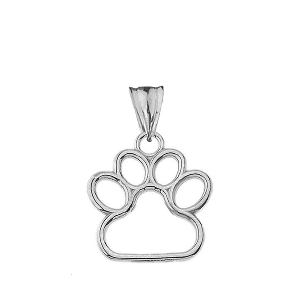 Dainty 10k White Gold Dog Paw Print Outline Charm Pendant (Small) by Claddagh Gold