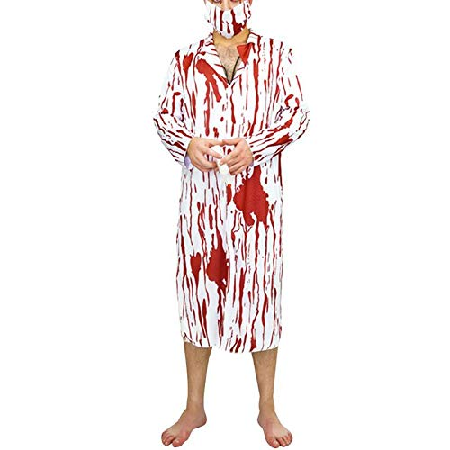 DecorFav Cosplay Adult Halloween Horror Costume with Blood Male Surgeons Suit Jumpsuit and Mask Stethoscope - Free Size]()