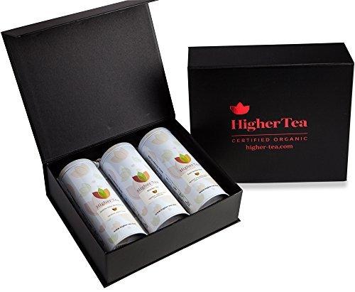 Sampler Tea Tin Gift Set By Higher Tea (3 Pack) Rose, Matcha, Jasmine - Cooling, Calming Tea for Menopause Relief, Hot Flashes, Night Sweats, (Sampler Gift Tin)