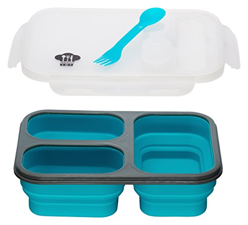 Kitchen Pro 101 Expandable & Collapsible Silicone School Lunch Box for Girls & Boys - 3 compartment Bento Box for Kids/Adults - As Seen On TV (Blue)