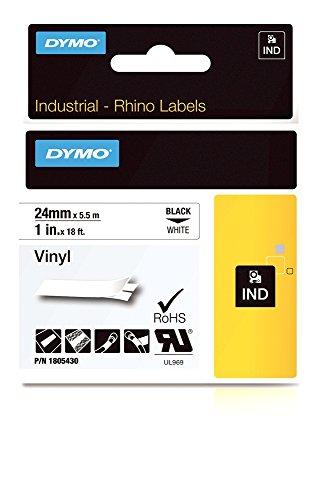 DYMO Rhino Adhesive Vinyl Label Tape, 1-inch, 18-foot Cassette, White (1805430)