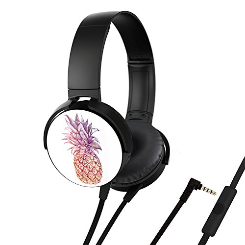 Foldable Headphone, Adjustable Headset, ISDOO Free Conversation Personalize Bass Booster Head Type Earphone 1.2M Black - pineapple