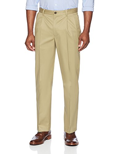 Buttoned Down Men's Relaxed Fit Pleated Stretch Non-Iron Dress Chino Pant, Wheat, 32W x 30L