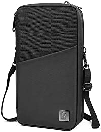 Family Passport Holder & Travel Wallet RFID Blocking Ticket Holder Document Organizer Bag with Zipper for Men