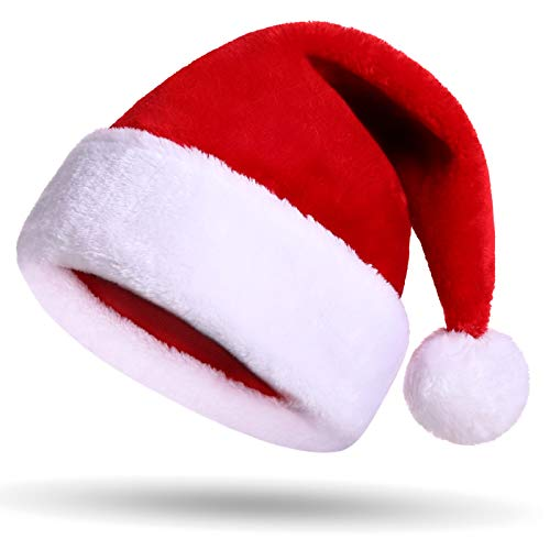 Little CC Red and White Plush Christmas Santa Hat for Christmas Party Celebration ()
