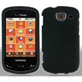 Generic Rubberized Hard Faceplate Cover Case for Samsung Brightside U380 - Retail Packaging - Black