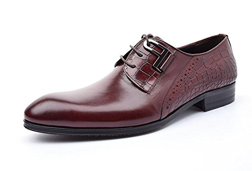 Pointed Lace Red Leather Button Shoes Dress ups Men's Loafer Santimon Toe nBEpxwP