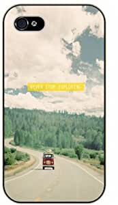 Never stop exploring - Van on road with mountains - Adventurer iPhone 5 5s Black plastic case - (Row 11-B)