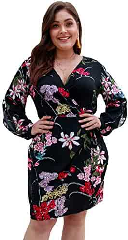 31afff712ddc Wellwits Women's Plus Size Wrap Floral Print Knee Length Bodycon Pencil  Dress