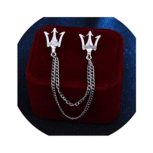 Metal Crown Brooch Pin Jewelry Luxury Tassel Chain Lapel Shirt Small Suit Badge Shirt Collar Accessories Gifts for Men,Silver from SUMMER STORE