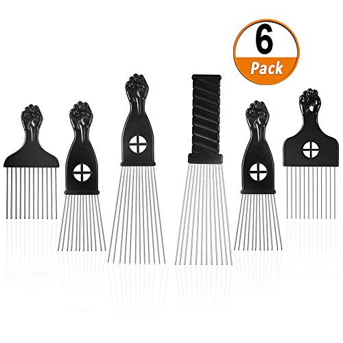 Afro Pick 6 Pack Metal African American Afro Hair Comb Hairdressing Styling Tool Hair Pick with Black Fist -