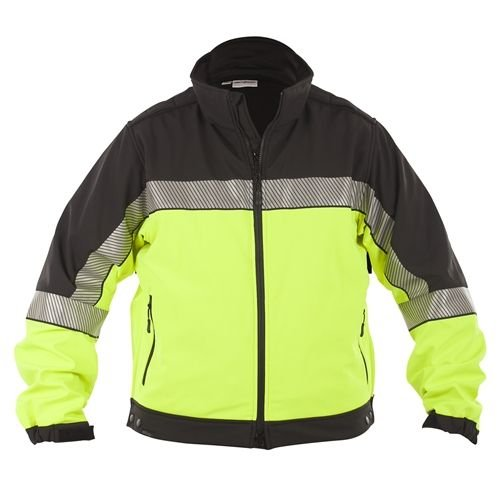 Color Block Soft Shell Jacket - Elbeco Shield Color Block Soft Shell Jacket, Black / Hivis - SH3708HV-XL-R