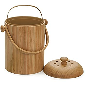 RSVP PAIL-BOO Bamboo Compost Pail, 3-Quart