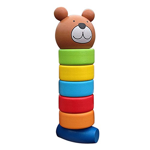(Brightric Primary Baby Wooden Educational Cartoon Stacking Block Toy Rainbow Tower)