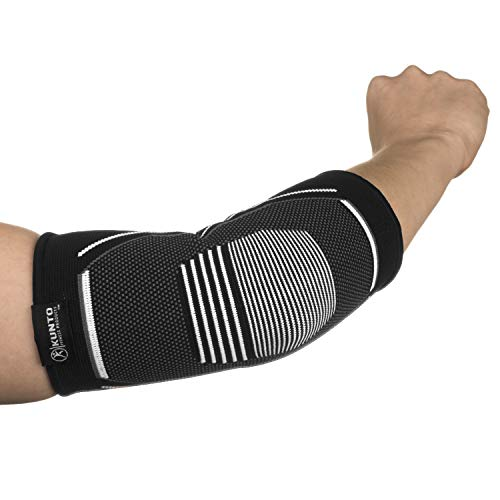 Kunto Fitness Elbow Brace Compression Support Sleeve for Tendonitis, Tennis Elbow, Golf Elbow Treatment - Reduce Joint Pain During Any Activity! (Large, White-Gray) by Kunto Fitness Products (Image #5)