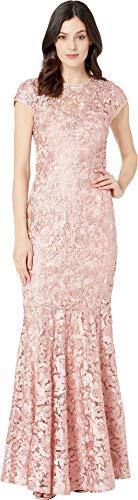 - Marina Women's Metallic Lace Cap Sleeve Keyhole Back Gown Blush 10