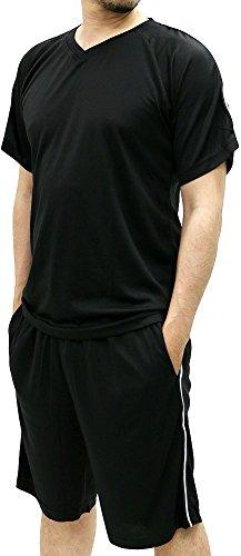 2 Piece Basketball Shorts (Skkone Men's Tracksuit Short Sleeve T-Shirt and Dry Mesh Shorts 2 Piece Set (Large, Black))
