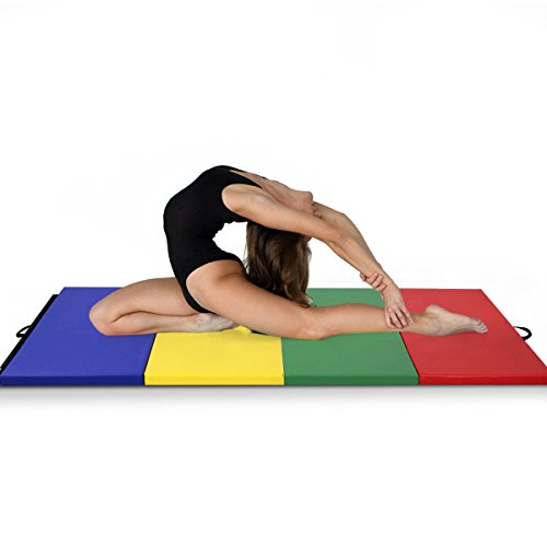 57ebcf2f29837 4'x8'x2 Gymnastics Mat Folding PU Panel Gym Fitness Exercise (Multicolor)