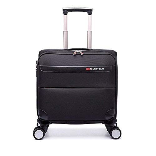 BFZJ suitcases Oxford Luggage Premium Softside Spinner Carry-On Trolley Case Travle Box Lightweight Suitcase Waterproof (Color : Black 1, Size : 18 inchs)