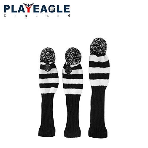 playeagle 3点/セットブラック/ホワイトストライプKnitingゴルフドライバーウッドヘッドカバーニットウール1 3 5フェアウェイウッド保護ヘッドカバーwith番号タグ B07BJZV1QP