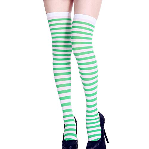 SUKEQ Women Long Striped Socks Over The Knee Thigh High Socks Stocking Funny Dress Up Props for Halloween Party Costume (Green) ()