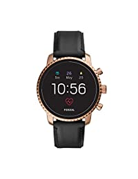 Fossil Men's Smartwatch Gen 4 Stainless Steel Touchscreen Watch with Leather Strap, Black, 22 (Model: FTW4017