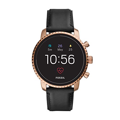 Fossil Men's Gen 4 Explorist HR Stainless Steel and Leather Touchscreen Smartwatch, Color: Rose Gold, Black (Model: FTW4017)