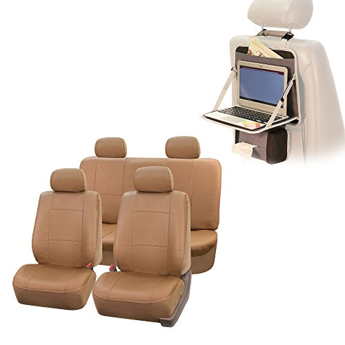 (FH Group PU001114 Classic Synthetic Leather Solid Tan Car Seat Covers w Fit Most Car, Truck, SUV Van)