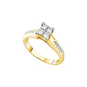 14kt Yellow Gold Womens Princess Diamond Cluster Bridal Wedding Engagement Ring 5/8 Cttw